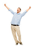 Happy man celebrating arms up success Stock Photo