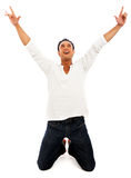 Happy man celebrating success Stock Photography