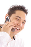 Happy man on cellphone Royalty Free Stock Photo