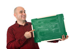 Happy man with chalkboard Royalty Free Stock Photo