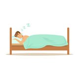 Happy man character sleeping in his bed, people resting vector Illustration royalty free illustration