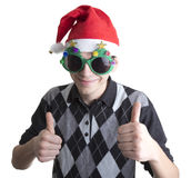 Happy man in Christmas party glasses Royalty Free Stock Photo