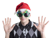 Happy man in Christmas party glasses Stock Photography