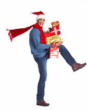 Happy man with christmas present. Stock Images