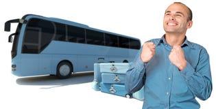 Happy man on coach bus trip Stock Photos