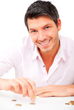 Happy man coin stock photography