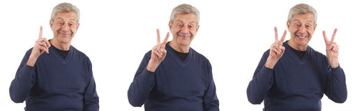 Happy man counting with fingers up Stock Photography
