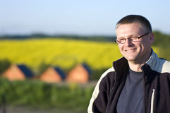 Happy man in countryside Royalty Free Stock Images