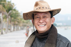Happy man with cowboy hat portrait Stock Photos