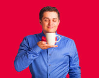 Happy man with cup Royalty Free Stock Photography