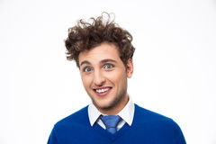 Happy man with curly hair Stock Photos
