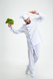 Happy man dancing with vegetables Stock Photo
