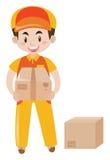 Happy man delivering boxes vector illustration