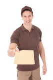 Happy man delivering mail. Over White Background stock images