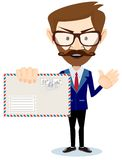 Happy Man Delivering Mail Over White Background Royalty Free Stock Image