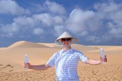 Happy Man in the Desert Royalty Free Stock Photos