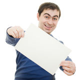 Happy man displaying blank card. Stock Photo