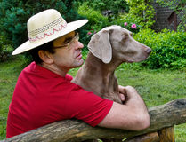 Happy man and dog Royalty Free Stock Image