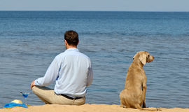 Happy man with dog Royalty Free Stock Images