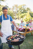 Happy man doing barbecue for his family Royalty Free Stock Image