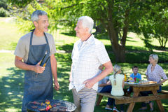 Happy man doing barbecue with his father Royalty Free Stock Images