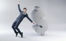 Happy man with dollar mark Stock Images