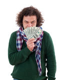 Happy man with dollars Stock Images