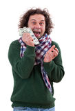 Happy man with dollars in his hand Stock Photos