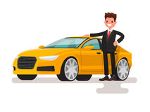 Happy man dressed in a suit next to the car. The seller or the o Royalty Free Stock Image