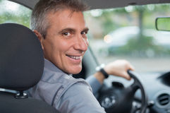 Happy Man Driving Car Stock Images
