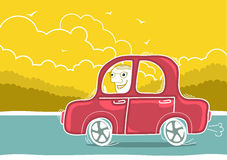 Happy man driving by car.Vector nature landscape Stock Photography