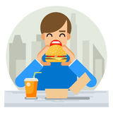 Happy Man Eating Hamburger Sandwich Icon Fast Food Royalty Free Stock Photos