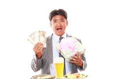 Happy man eating meals Stock Photo