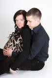 Happy man embrace pregnant woman Royalty Free Stock Image