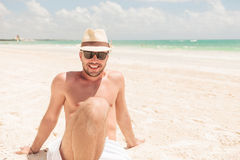 Happy man enjoying his vacation. Stock Image