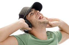 Happy man enjoying music Stock Images