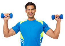 Happy Man Exercising With Weights Stock Images