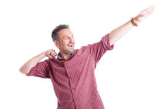 Happy man expressing positivity or victory. Isolated on white background stock image