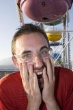 Happy man at fairground Royalty Free Stock Photography