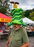 Happy Man at Farmer's Market Community Event stock image