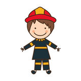 Happy man firefighter icon Royalty Free Stock Photo