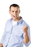 Happy man with fist up. Isolated on white Stock Photo
