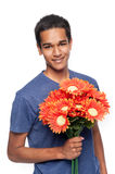 Happy Man With Flowers Royalty Free Stock Images