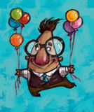 A man flying holding balloons. A happy man flying high in the sky holding colorful balloons Royalty Free Stock Image
