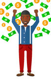Happy man with  flying money Royalty Free Stock Photography