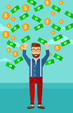 Happy man with  flying money. Royalty Free Stock Image