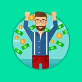 Happy man with  flying money. Stock Photos
