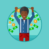 Happy man with flying money vector illustration. Stock Images
