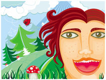 Happy man in the forest. Vector Illustration