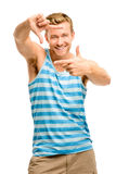 Happy man framing photograph Stock Image